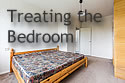 Text 'Treating the Bedroom,' with a bedroom in the background that is empty except for the bed and a closet